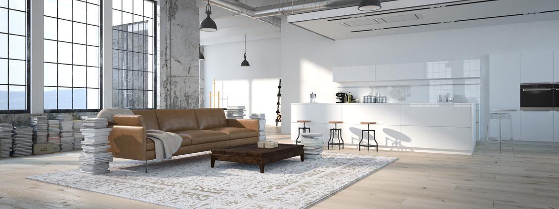 The modern kitchen interior design. 3d rendering